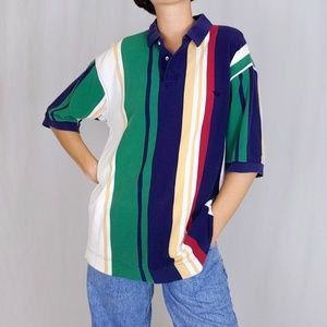 90's Dockers vertical striped polo